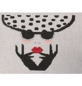 "Voila! Lady w/Polkadot Hat & Sunglasses10.5"" x 7.5"""