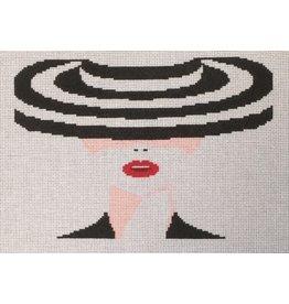 "Voila! Lady w/Black & White Hat10.5"" x 7.5"""