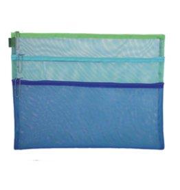 """Walker Triple Zip Case Multi Colored - Blue/Purple/Teal<br /> 6"""" x 9"""""""