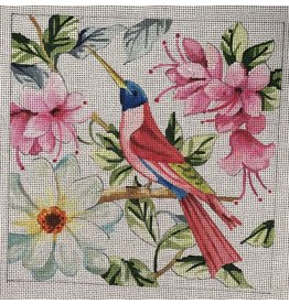 "Colors of Praise Humingbird w/Flowers<br /> 7"" x 7"""