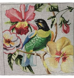 "Colors of Praise Parakeet with Flowers<br /> 7"" x 7"""