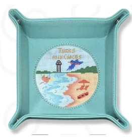 """Colonial Needle Snap Tray Teal Leather - 4"""" Round insert"""