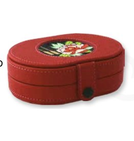 """Colonial Needle Leather Needle Box w/magnets - Red with 3"""" insert 6"""" x 4.5"""" x 2.5"""""""