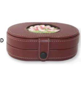 """Colonial Needle Leather Needle Box w/magnets - Brown - with 3"""" insert 6"""" x 4"""" x 2.5"""""""