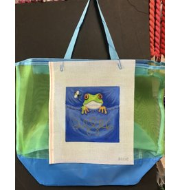 Cheryl Schaeffer Blue/Green Tote Bag with Frog Needlepoint insert