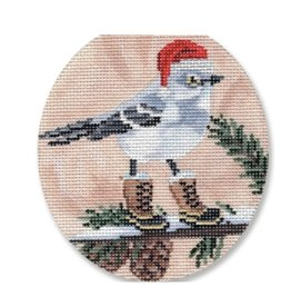 "CBK Needlepoint Bird w/boots and Santa hat ornament<br /> 4"" Round"
