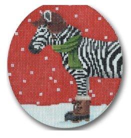 "CBK Needlepoint Zebra with boots ornament<br /> 4.5"" Round"