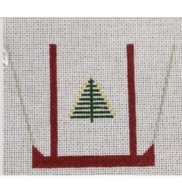 """CBK Needlepoint Tote Bag with Christmas tree on front ornament<br /> 4"""" x 3.5"""""""