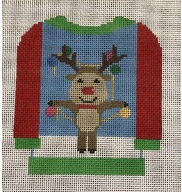 All About Stitching Reindeer on Sweater - ornament