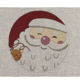"""All About Stitching Santa w/Bell ornament<br /> 4.5"""" Round"""