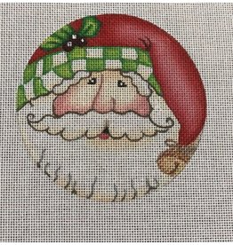 """All About Stitching Santa w/Green &amp; White Checks on Cap ornament<br /> 4.5"""" Round"""