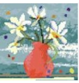 "Birds of a Feather Red Vase w/Daisies<br /> 6.5"" X 6.5""9"