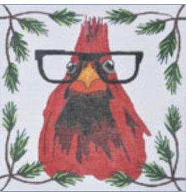 "Danji Cardinal With Glasses<br /> 8"" x 8"""