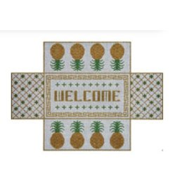 "JP Needlepoint Welcome / Pineapple Brick Cover<br /> 10"" x 14"""