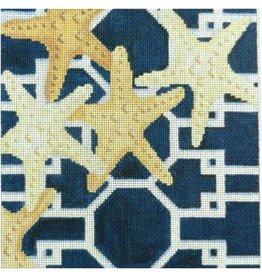 """Associated Talent Starfish on Lattice/Pink<br /> 9"""" x 9"""""""