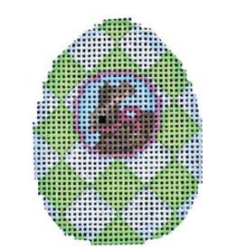 Associated Talent Bunny/Lime Harlequin Mini Egg ornament