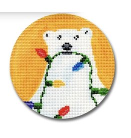 "CBK Needlepoint Polar Bear w/Lights ornament<br /> 4"" Round"