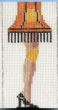 "2 Sisters Needlepoint A Christmas Story Leg Lamp ornament<br /> 4"" x 2"""