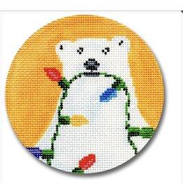 CBK Needlepoint Polar Bear w/Lights ornament