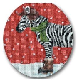 """CBK Needlepoint Zebra Dressed for Winter  ornament<br /> 5"""" oval"""