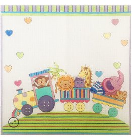 "Alice Peterson Circus Train Birth Announcement<br /> 12.25"" x 12.25"