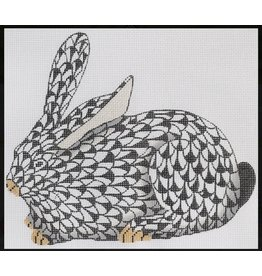 Kate Dickerson Herend inspired Crouching Bunny - black/w gold - facing left