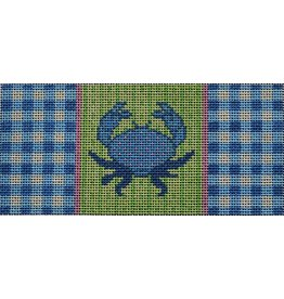"2 Sisters Needlepoint Blue Crab/Gingham insert<br /> 6"" x 2.75"""