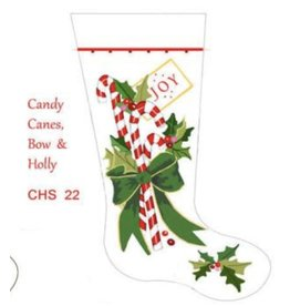 Deux Amis Candy Canes Bows & Holly Stocking