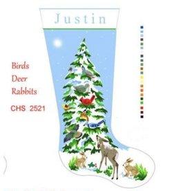 Deux Amis Snow Tree w/birds, deer & rabbits Stocking