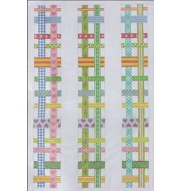 Kate Dickerson Luggage Rack Straps - Woven Ribbons - Multi Bright on White