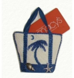 Canvas Connection Blue Palm Tree Mini Tote Bag ornament