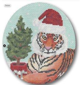 "CBK Needlepoint Tiger w/Tree ornament<br /> 4.5"" x 5"" Oval"