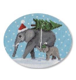 "CBK Needlepoint Elephants bringing home the tree - ornament<br /> 5"" x 4"""