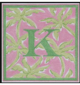 """Kate Dickerson Lilly Inspired letter - palm trees<br /> - pink with green - ornament<br /> 5"""" x 5"""""""