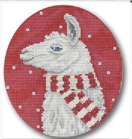CBK Needlepoint Lama w/Scarf ornament