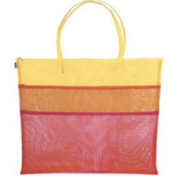 Walker Dunham Triple Zip w/handle Tote Bag <br /> Yellow/Mint/Aqua