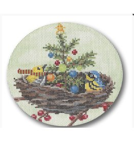 """CBK Needlepoint Christmas in the Nest ornament<br /> 4"""" x 5"""""""