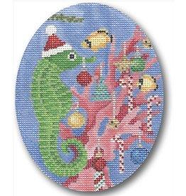 CBK Needlepoint Seahorse Decorating Tree ornament<br /> 4x5 oval