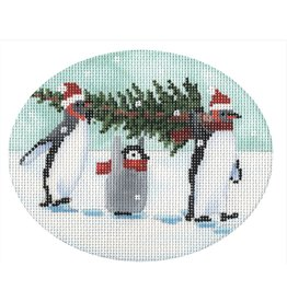 """CBK Needlepoint Penguins Bringing Home the Tree<br /> ornament<br /> 5"""" oval"""