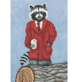 """CBK Needlepoint Dapper Raccoon<br /> 8.25"""" x 12"""""""