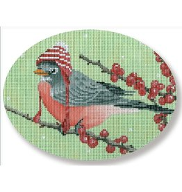 "CBK Needlepoint Robin with a Hat<br /> 6.25"" x 5"""