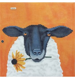 "CBK Needlepoint Sheep with Daisy<br /> 4.75"" Round"