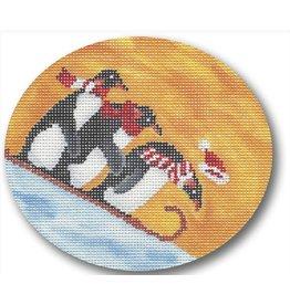 """CBK Needlepoint Penguins Sledding ornament<br /> 5"""" x 4.5"""" oval"""