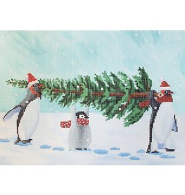 "CBK Needlepoint Penguins Bringing Home the Tree<br /> 12"" x 9"""