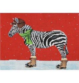 "CBK Needlepoint Zebra Dressed for Winter<br /> 12"" x 9"""