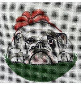 """Purple Palm Designs Bulldog ornament<br /> 4"""" Round"""