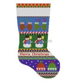"Susan Roberts Bold Stripe Snowman, Hat &amp; Mittens stocking<br /> 19"""