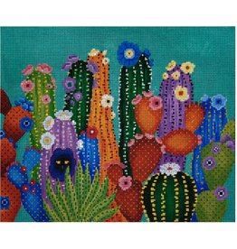 """JP Needlepoint Cactcus Smacked Us<br /> 12"""" x 10"""""""