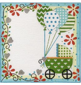 """Alice Peterson Buggy and Balloons Birth Announcement<br /> 9"""" x 9"""""""
