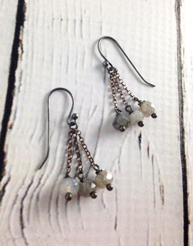 Handmade Sterling Silver Earrings with 3 labradorite rondelles on chains
